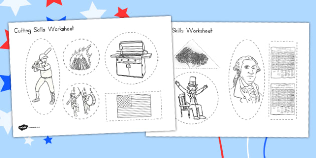 Independence Day Cutting Skills Worksheet - independence day