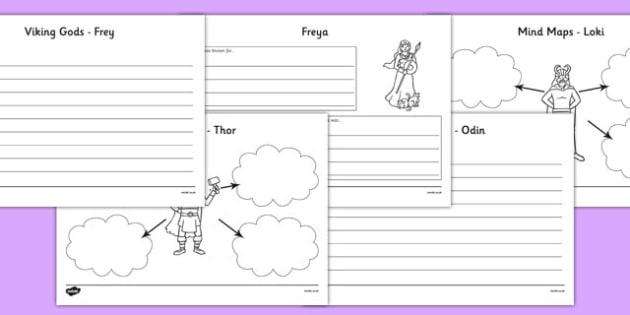 Viking Gods Mind Maps and Worksheets - viking god worksheets, viking god mind maps, frey worksheet, freya worksheet, thor worksheet, odinworksheet , loki