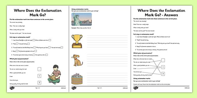 Exclamation Mark Worksheets - Sentences, full stop, question mark, exclamation mark, punctuation