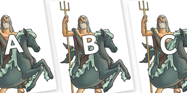 A-Z Alphabet on Poseidon - A-Z, A4, display, Alphabet frieze, Display letters, Letter posters, A-Z letters, Alphabet flashcards