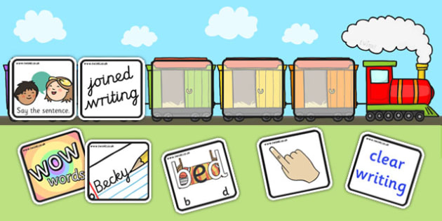 Editable Writing Target Cards Train - writing targets, writing target cards, editable, trains, editable trains, editable writing targets, editable targets