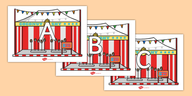 A-Z Alphabet on Fairground Coconut Stands - A-Z, A4, display, Alphabet frieze, Display letters, Letter posters, A-Z letters, Alphabet flashcards