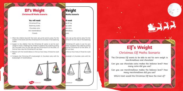 Elf's Weight Christmas Elf Maths Scenario