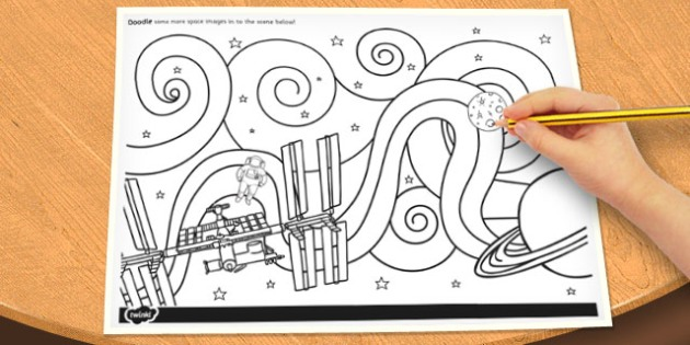 Space Themed Doodle Page - doodle, page, space, doodle page