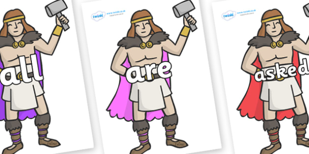 Tricky Words on Viking Warriors - Tricky words, DfES Letters and Sounds, Letters and sounds, display, words