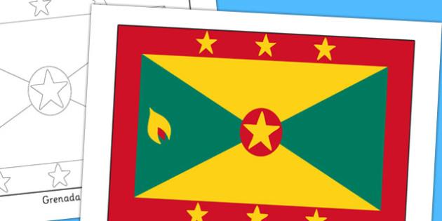 Grenada Flag Display Poster - countries, geography, display