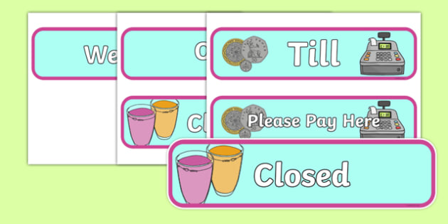 Smoothie Bar Role Play Signs - role play, sign, signs, smoothie, smoothie bar, fruit, strawberry, banana, milk, ice