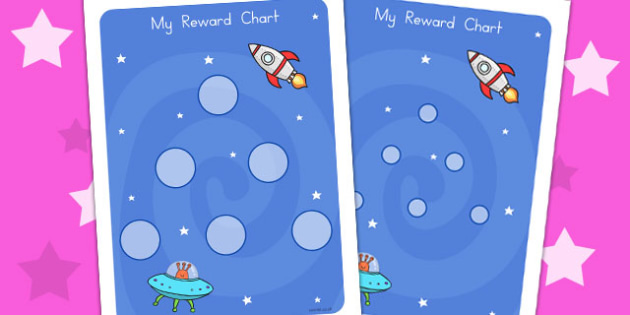 Space Large Sticker Reward Chart - rewards, charts, stickers