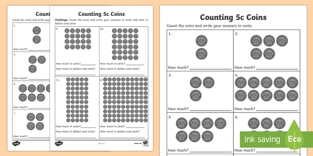 Counting 5c Coins Activity Sheet - Australian currency, money, currency, counting, worksheet, Australia