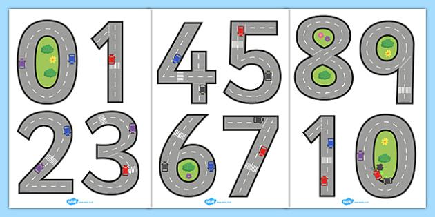Road Themed Display Numbers 0-20 - display, numbers, 0-20, road