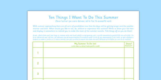 Ten Things I Want to Do This Summer Romanian Translation - summer, fun, activities, see, do, plan, organise, bucket, list, Romania
