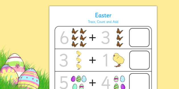 Easter Trace Count and Add Activity Sheet - easter, trace, count, worksheet