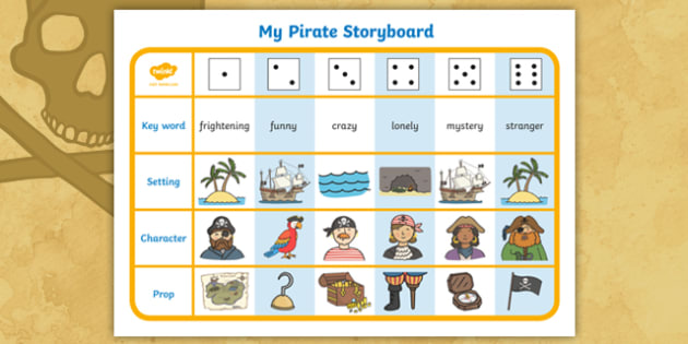 Pirate Theme Story Writing Dice Activity - pirate writing activity, pirate story writing activity, write story writing game, writing game, story dice game