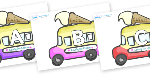 A-Z Alphabet on Ice Cream Vans - A-Z, A4, display, Alphabet frieze, Display letters, Letter posters, A-Z letters, Alphabet flashcards