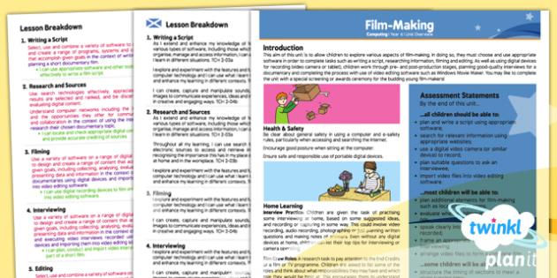 PlanIt - Computing Year 6 - Film Making Planning Overview CfE - PlanIt, computing, film making, editing
