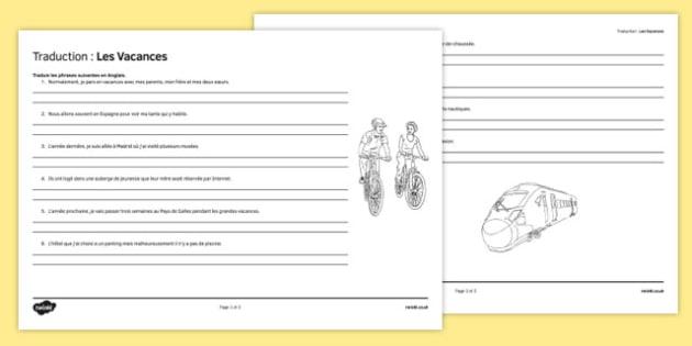 Traduction : Les vacances - french, holidays, translation, worksheet