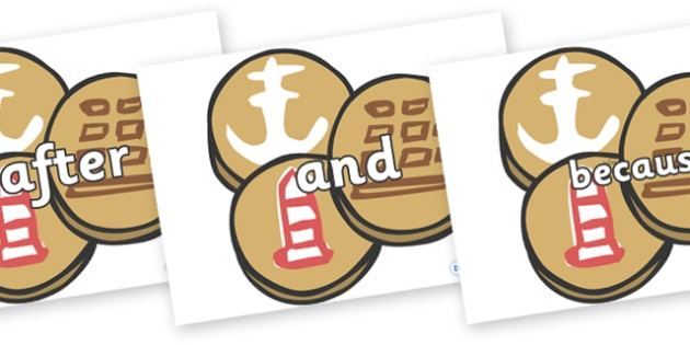 Connectives on Sea Biscuits to Support Teaching on The Lighthouse Keeper's Lunch - Connectives, VCOP, connective resources, connectives display words, connective displays