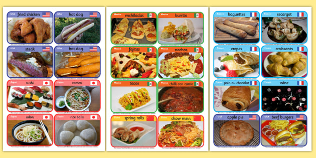 Food from around the World Cards - food, around, world, cards