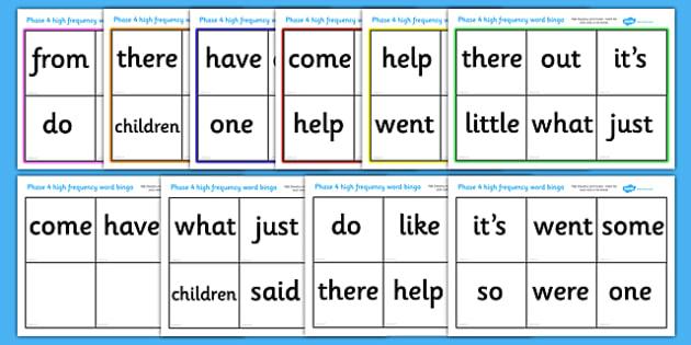 Phase 4 High Frequency Word Bingo - Word Bingo, Phase 4, Phase four, Foundation bingo, High Frequency Words, Letters and Sounds, DfES Letters and Sounds