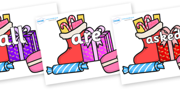 Tricky Words on Christmas Gifts - Tricky words, DfES Letters and Sounds, Letters and sounds, display, words