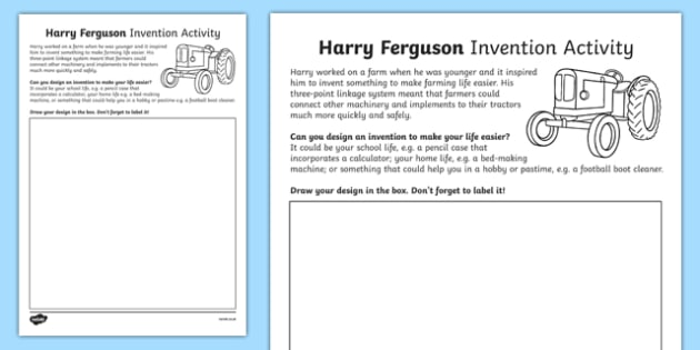 Harry Ferguson Invention Activity Sheet, worksheet
