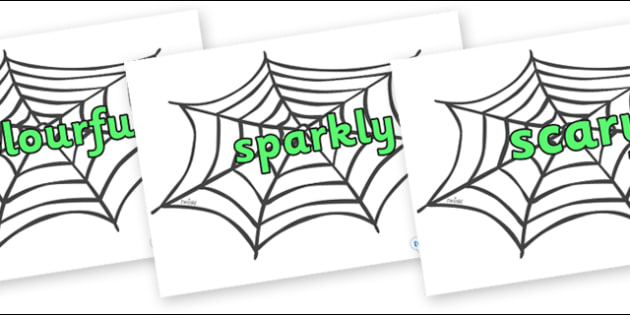 Wow Words on Spiders Web - Wow words, adjectives, VCOP, describing, Wow, display, poster, wow display, tasty, scary, ugly, beautiful, colourful sharp, bouncy