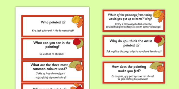 Looking at Paintings Prompt Questions Polish Traslation - Polish, Poland, EAL, bilingual, art, art and design, paint, painting, appreciation, evaluate, share