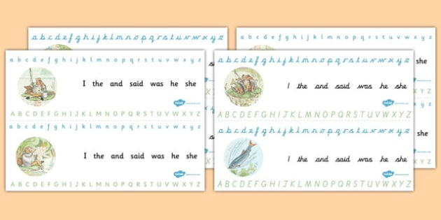 The Tale of Jeremy of Fisher Alphabet Strips - letters, words, Beatrix Potter