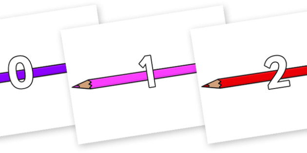 Numbers 0-31 on Pencil Crayon - 0-31, foundation stage numeracy, Number recognition, Number flashcards, counting, number frieze, Display numbers, number posters