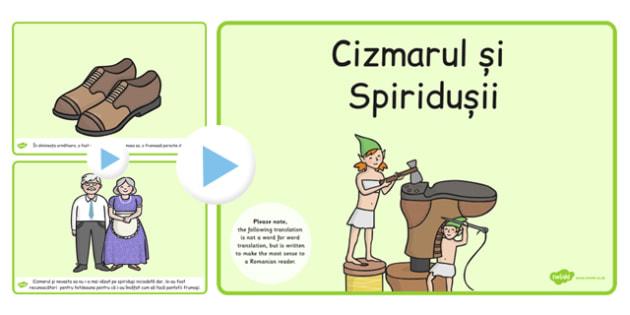 Cizmarul si spiridusii, poveste cu imagini, powerpoint, spiridusi, Romanian