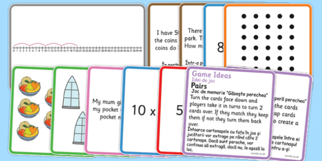 Times and Divide Card Games x5 Romanian Translation - romanian, times, divide, card, game, 5
