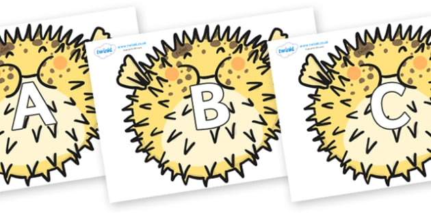 A-Z Alphabet on Pufferfish - A-Z, A4, display, Alphabet frieze, Display letters, Letter posters, A-Z letters, Alphabet flashcards