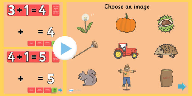 Autumn Themed Addition PowerPoint - autumn, addition, adding, plus, powerpoint, addition powerpoint, maths, numeracy, numeracy powerpoint, themed addition