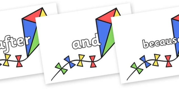 Connectives on Kites - Connectives, VCOP, connective resources, connectives display words, connective displays