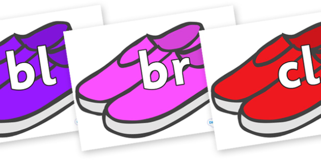 Initial Letter Blends on Shoes - Initial Letters, initial letter, letter blend, letter blends, consonant, consonants, digraph, trigraph, literacy, alphabet, letters, foundation stage literacy