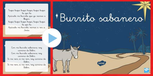 Presentación: Burrito Sabanero - Navidad, villancico, presentación, PowerPoint, canción.,Spanish