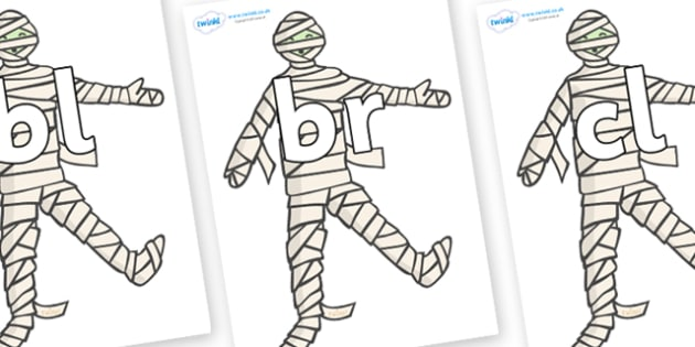 Initial Letter Blends on Mummy (Plain) - Initial Letters, initial letter, letter blend, letter blends, consonant, consonants, digraph, trigraph, literacy, alphabet, letters, foundation stage literacy