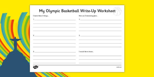 Rio 2016 Basketball Write Up Worksheet - rio 2016, 2016 olympics, rio olympics, basketball, write up worksheet