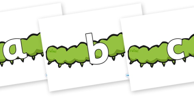 Phoneme Set on Caterpillars - Phoneme set, phonemes, phoneme, Letters and Sounds, DfES, display, Phase 1, Phase 2, Phase 3, Phase 5, Foundation, Literacy