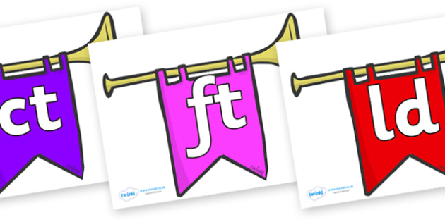 Final Letter Blends on Banners - Final Letters, final letter, letter blend, letter blends, consonant, consonants, digraph, trigraph, literacy, alphabet, letters, foundation stage literacy