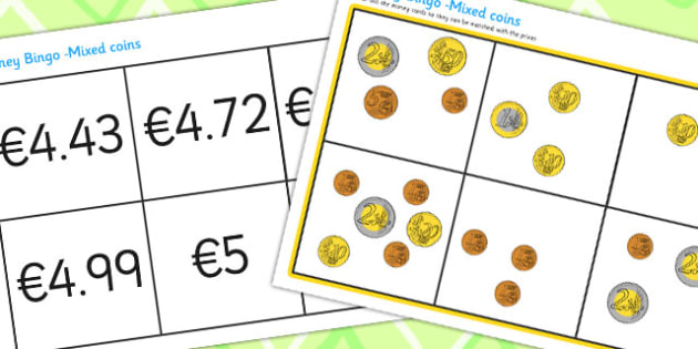 Mixed Euro Coins Bingo - money, coin, currency, lotto, games
