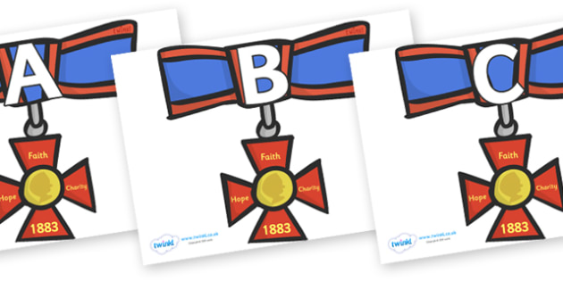 A-Z Alphabet on Medals - A-Z, A4, display, Alphabet frieze, Display letters, Letter posters, A-Z letters, Alphabet flashcards