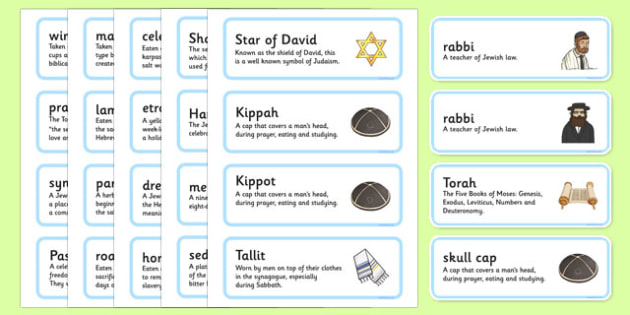 Judaism Word Cards Definitions - judaism, word cards, definitions, word, cards