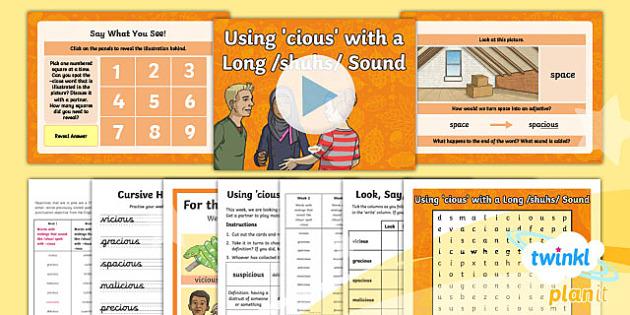 PlanIt Y5 Term 1A W1: -cious Endings Spelling Pack