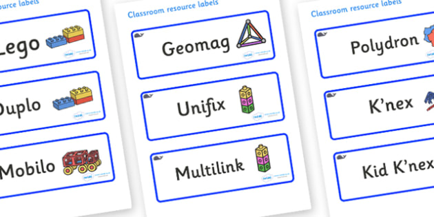 Whale Themed Editable Construction Area Resource Labels - Themed Construction resource labels, Label template, Resource Label, Name Labels, Editable Labels, Drawer Labels, KS1 Labels, Foundation Labels, Foundation Stage Labels
