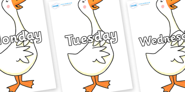 Days of the Week on Hullabaloo Goose to Support Teaching on Farmyard Hullabaloo - Days of the Week, Weeks poster, week, display, poster, frieze, Days, Day, Monday, Tuesday, Wednesday, Thursday, Friday, Saturday, Sunday