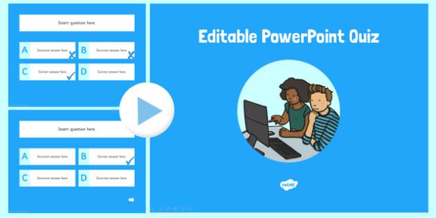 Editable PowerPoint Quiz - editable, powerpoint, quiz, edit