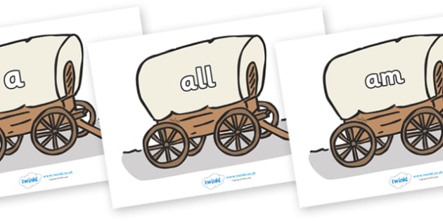 Foundation Stage 2 Keywords on Wagons - FS2, CLL, keywords, Communication language and literacy,  Display, Key words, high frequency words, foundation stage literacy, DfES Letters and Sounds, Letters and Sounds, spelling