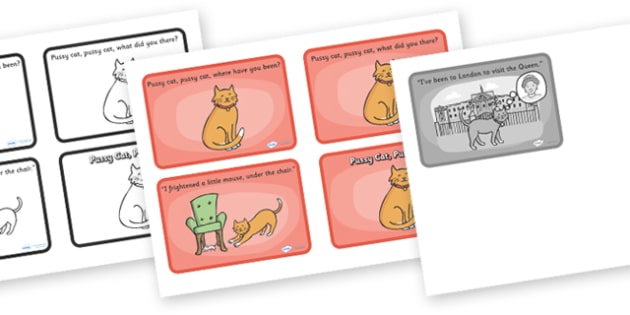 Pussy Cat Pussy Cat Sequencing (4 per A4) - Pussy Cat, Pussy Cat, nursery rhyme, sequencing, rhyme, rhyming, nursery rhyme story, nursery rhymes, Pussy Cat Pussy Cat resources