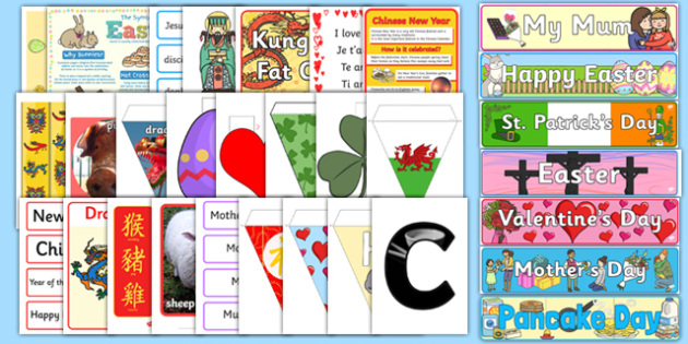 Spring Term Festivals and Celebrations Display Pack - display